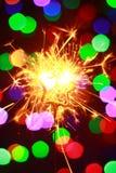 Luces 2016 de Bengala del Año Nuevo bajo la forma de estrellas Fotografía de archivo