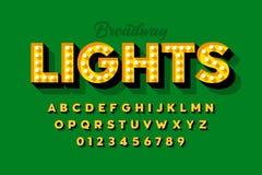 Luces de Broadway, fuente retra de la bombilla del estilo foto de archivo