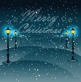 Luces de calle con las decoraciones de la Navidad, muestra de la Navidad, vector Fotografía de archivo libre de regalías