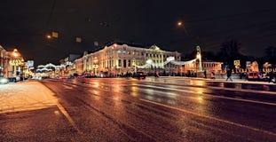 Luces de calle de la Navidad de St Petersburg Foto de archivo