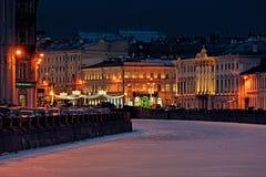 Luces de calle de la Navidad de St Petersburg Foto de archivo libre de regalías