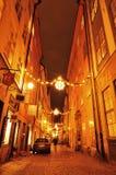 Luces de calle en la Navidad Imágenes de archivo libres de regalías