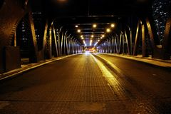 Luces de calle en un puente en Chicago Illinois imágenes de archivo libres de regalías