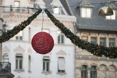 Luces de calles de la Navidad Imagenes de archivo
