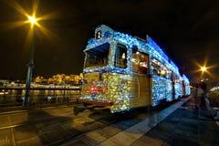Luces de Christmass en una tranvía Imágenes de archivo libres de regalías