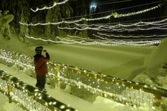 Luces de Chritmas en montaña del urogallo Fotografía de archivo libre de regalías