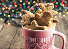 Luces de Cristmas gingerbread Imágenes de archivo libres de regalías