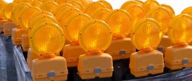 Luces de emergencia del borde de la carretera Imágenes de archivo libres de regalías