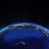 Luces de Europa y de la ciudad de la África del Norte en la noche stock de ilustración