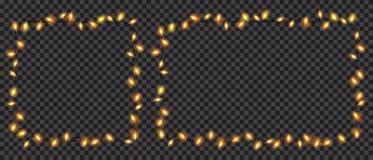 Luces de hadas translúcidas cuadrado y rectángulo de la Navidad formados Foto de archivo