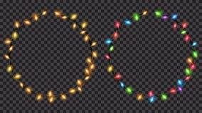 Luces de hadas translúcidas de la Navidad de forma anular stock de ilustración