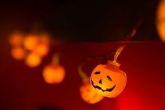 Luces de Halloween de la calabaza Imágenes de archivo libres de regalías