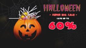 Luces de la calabaza de Halloween con el fondo del caramelo libre illustration