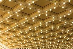 Luces de la carpa en techo del teatro de Broadway Foto de archivo libre de regalías