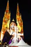 Luces de la catedral de St Mary de la Navidad @, Sydney, Australia fotografía de archivo