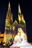 Luces de la catedral de St Mary de la Navidad @, Sydney, Australia Imagenes de archivo