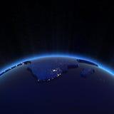 Luces de la ciudad de África en la noche Imagen de archivo libre de regalías