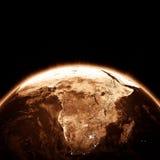 Luces de la ciudad de África en la noche Foto de archivo libre de regalías