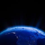 Luces de la ciudad de África en la noche Fotos de archivo libres de regalías
