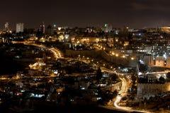 Luces de la ciudad de Jerusalén - Israel viejos Fotos de archivo