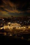 Luces de la ciudad de Jerusalén vieja en la salida del sol Imagen de archivo libre de regalías
