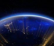 Luces de la ciudad de la tierra del planeta Elementos de esta imagen equipados por el NA libre illustration