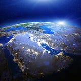 Luces de la ciudad de Oriente Medio y del golfo Foto de archivo libre de regalías