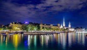 Luces de la ciudad de Zurich Imagen de archivo libre de regalías