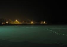Luces de la ciudad en la noche del invierno Foto de archivo libre de regalías