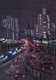 Luces de la ciudad grande Foto de archivo libre de regalías