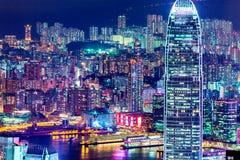 Luces de la ciudad de Hong Kong en la noche Foto de archivo