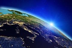 Luces de la ciudad de la tierra del planeta representación 3d ilustración del vector