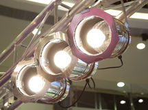 Luces de la etapa en braguero Foto de archivo