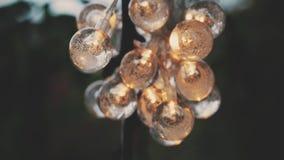 Luces de la guirnalda de la Navidad en linterna de la bola de cristal almacen de video