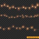 Luces de la Navidad aisladas en fondo transparente Imagen de archivo