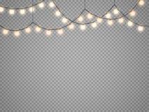 Luces de la Navidad aisladas en fondo transparente Guirnalda que brilla intensamente de Navidad del vector ilustración del vector