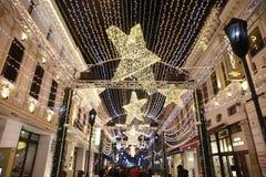 Luces de la Navidad de Bucarest foto de archivo