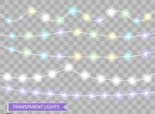 Luces de la Navidad del color Cintas aisladas decorativas del partido festivo del Año Nuevo Guirnalda que brilla intensamente de  stock de ilustración