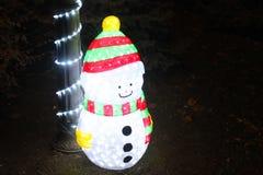 Luces de la Navidad del muñeco de nieve Imágenes de archivo libres de regalías