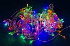 Luces de la Navidad eléctricas, guirnalda festiva Fotos de archivo libres de regalías