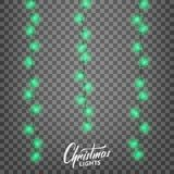 Luces de la Navidad Elementos realistas del diseño de la decoración para Navidad Fotos de archivo libres de regalías