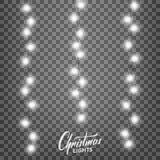 Luces de la Navidad Elementos realistas del diseño de la decoración para Navidad Imagen de archivo