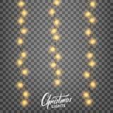 Luces de la Navidad Elementos realistas del diseño de la decoración para Navidad Foto de archivo libre de regalías