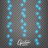 Luces de la Navidad Elementos realistas del diseño de la decoración para Navidad Foto de archivo