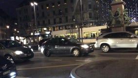 Luces de la Navidad en Bahnhofstrasse Zurich cerca de la estación principal, Suiza metrajes