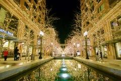 Luces de la Navidad en la cala de la ciudad en Salt Lake City céntrico Foto de archivo libre de regalías