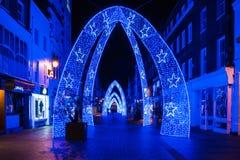 Luces de la Navidad en la calle del sur de Molton en Londres Reino Unido Fotografía de archivo libre de regalías