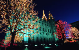 Luces de la Navidad en cuadrado del templo Fotografía de archivo