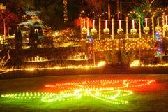 Luces de la Navidad en jardines del butchart Foto de archivo libre de regalías
