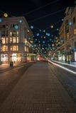 Luces de la Navidad en la calle de Oxford, Londres Reino Unido Imágenes de archivo libres de regalías